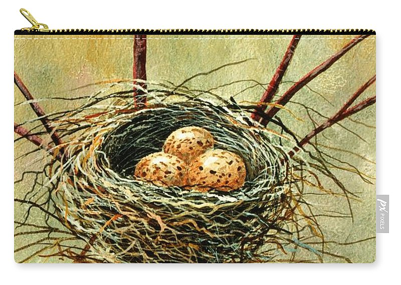 Still Life Carry-all Pouch featuring the painting Bird Nest by Frank Wilson