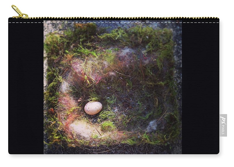 Bird Nest Carry-all Pouch featuring the photograph Bird Nest With Egg by Kory Olson