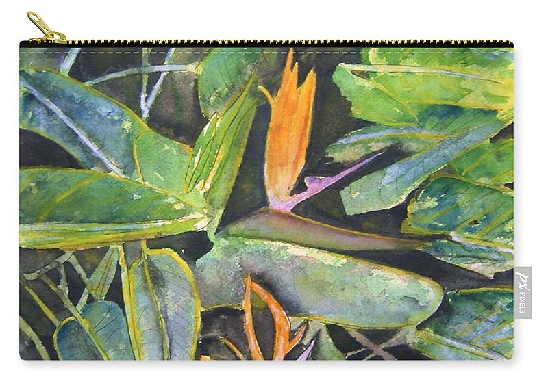 Flower Carry-all Pouch featuring the painting Bird Of Paradise 2 by Derek Mccrea