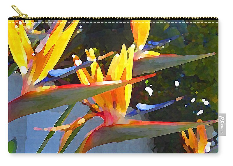 Abstract Carry-all Pouch featuring the painting Bird Of Paradise Backlit By Sun by Amy Vangsgard