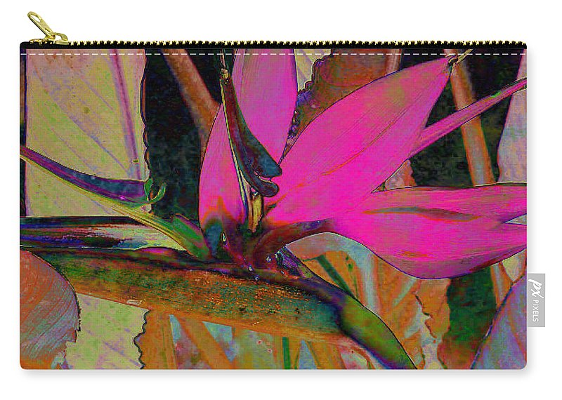 Flower Carry-all Pouch featuring the digital art Bird Of Paradise by Barbara Berney