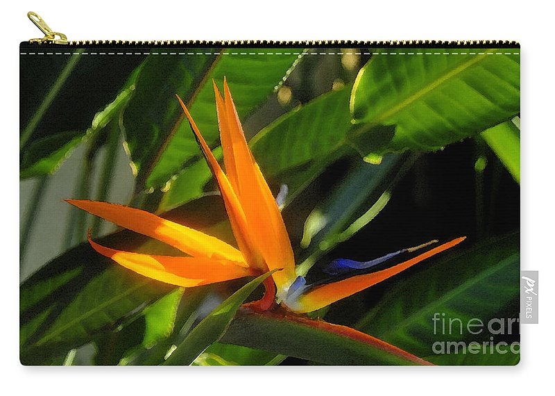 Bird Of Paradise Carry-all Pouch featuring the painting Bird Of Paradise by David Lee Thompson