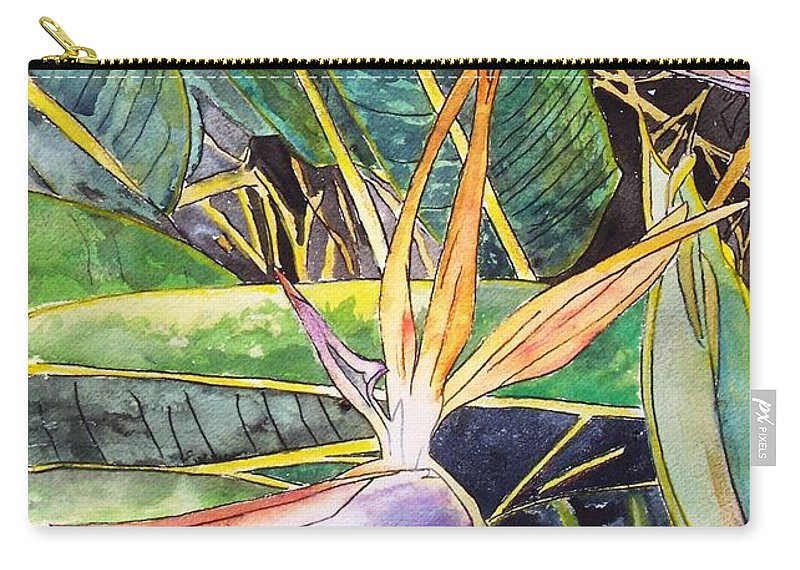 Watercolor Carry-all Pouch featuring the painting Bird of Paradise by Derek Mccrea