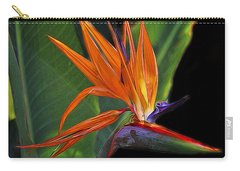 Bird Of Paradise Carry-all Pouch featuring the photograph Bird Of Paradise Digital Art by TN Fairey