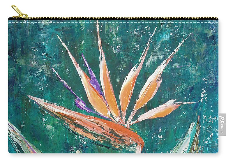Bird Of Paradise Carry-all Pouch featuring the painting Bird Of Paradise by Gina De Gorna