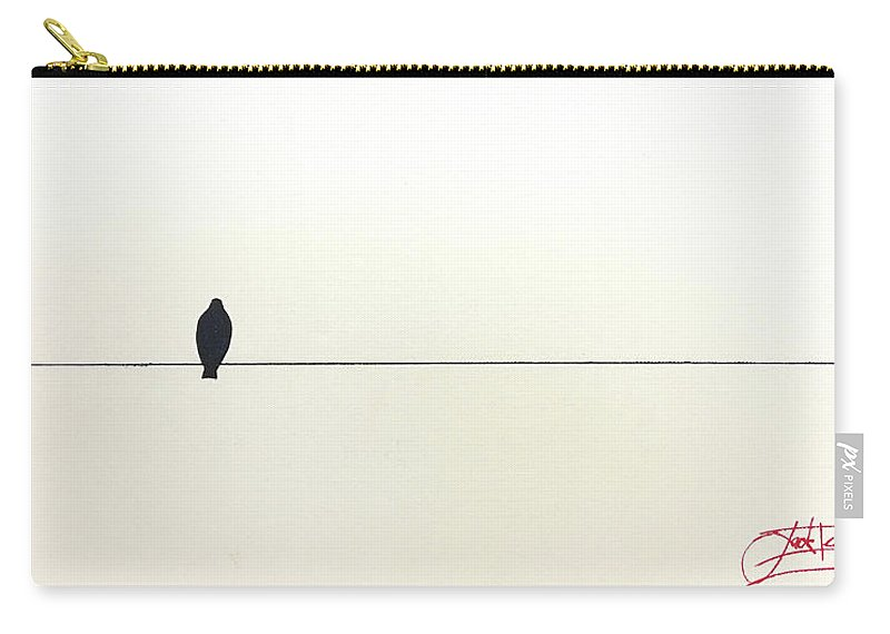 Art Carry-all Pouch featuring the painting Bird On A Wire by Jack Diamond