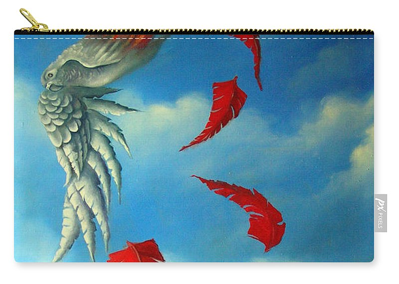 Surreal Carry-all Pouch featuring the painting Bird On Fire by Valerie Vescovi