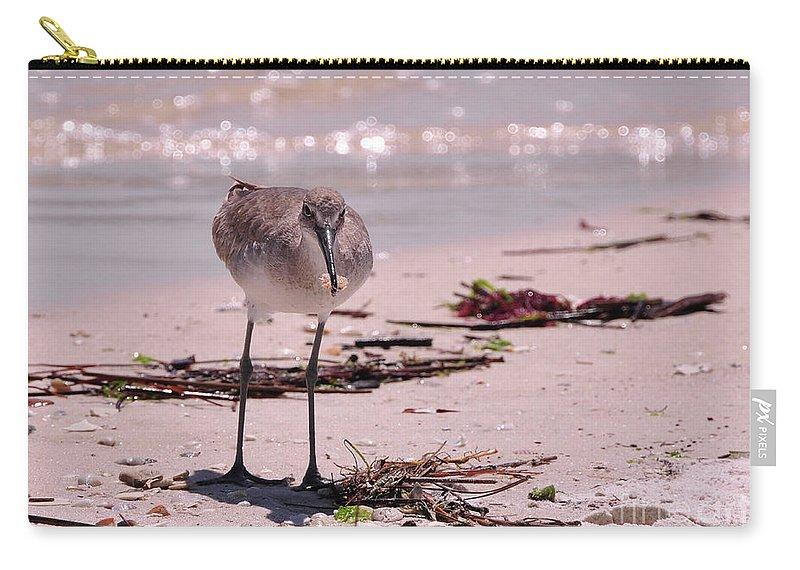 Beach Carry-all Pouch featuring the photograph Bird On The Beach by Susan Cliett
