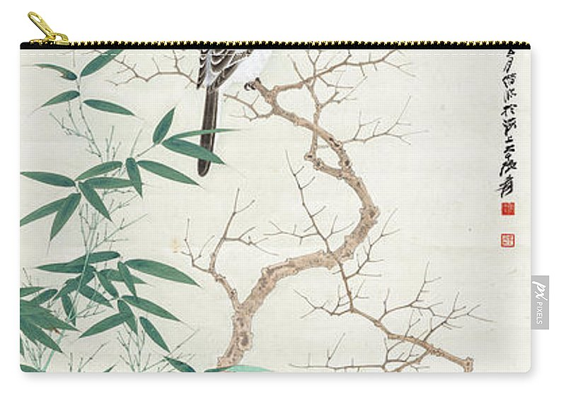 Lotus Plum Peony Flower Carry-all Pouch featuring the painting Bird On The Branch by Zhang Daqian