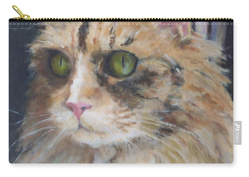 Feline Carry-all Pouch featuring the painting Bird Watching by Alicia Drakiotes