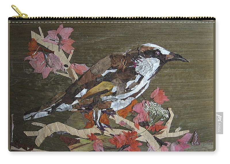 Bird Carry-all Pouch featuring the mixed media Bird White eye by Basant Soni