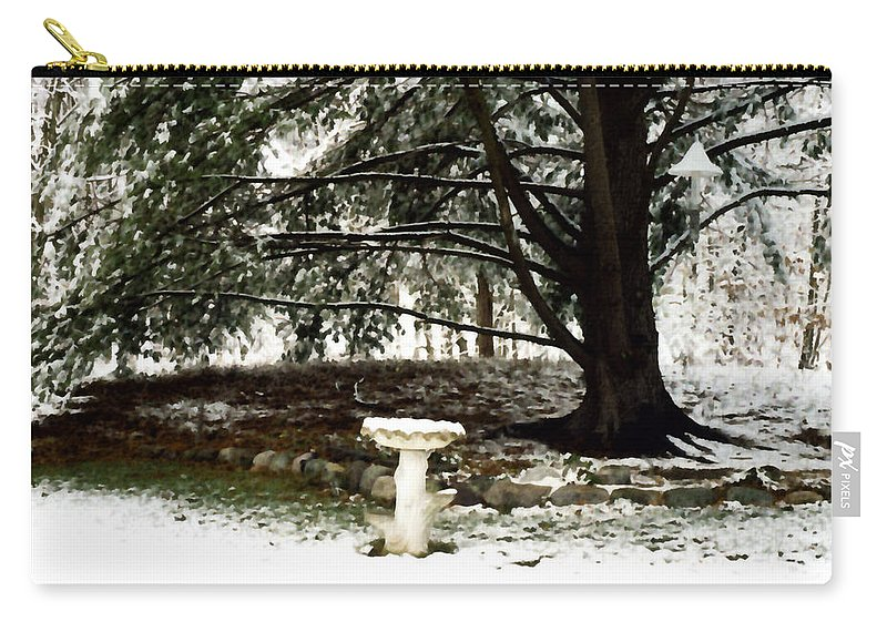 Winter Carry-all Pouch featuring the painting Birdbath by Paul Sachtleben