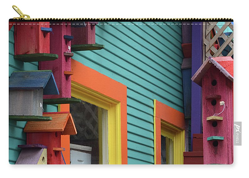 Birdhouse Carry-all Pouch featuring the photograph Birdhouses For Colorful Birds 3 by Bob Christopher