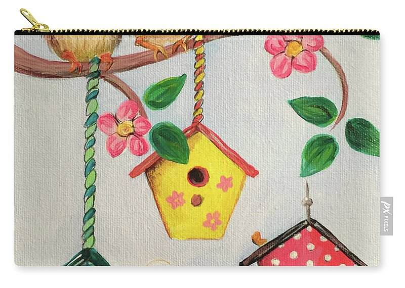 Whimsical Carry-all Pouch featuring the painting Birds And Birdhouse by Noel Cole