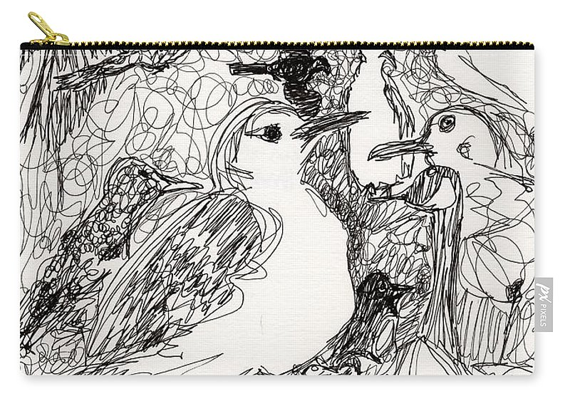 Birds Carry-all Pouch featuring the drawing Birds by Christopher O'Kelley