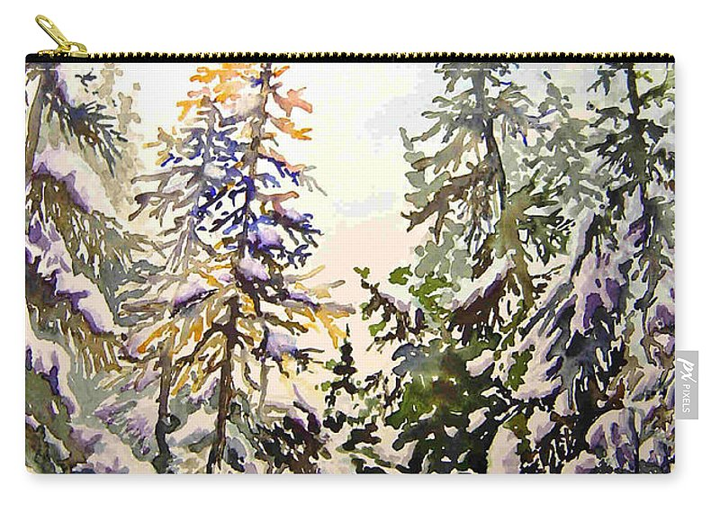Birds Hill Provincial Park Manitoba Evergreens In Winter Carry-all Pouch featuring the painting Birds Hill Park One Late Afternoon In January by Joanne Smoley