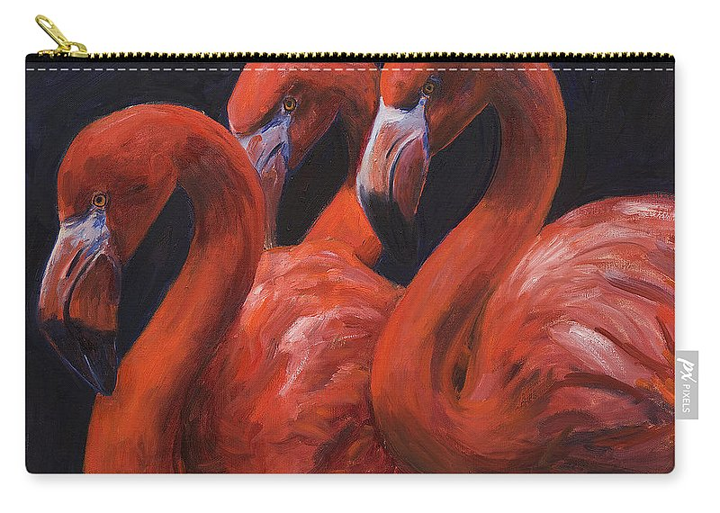 Flamingos Carry-all Pouch featuring the painting Birds Of A Feather by Billie Colson