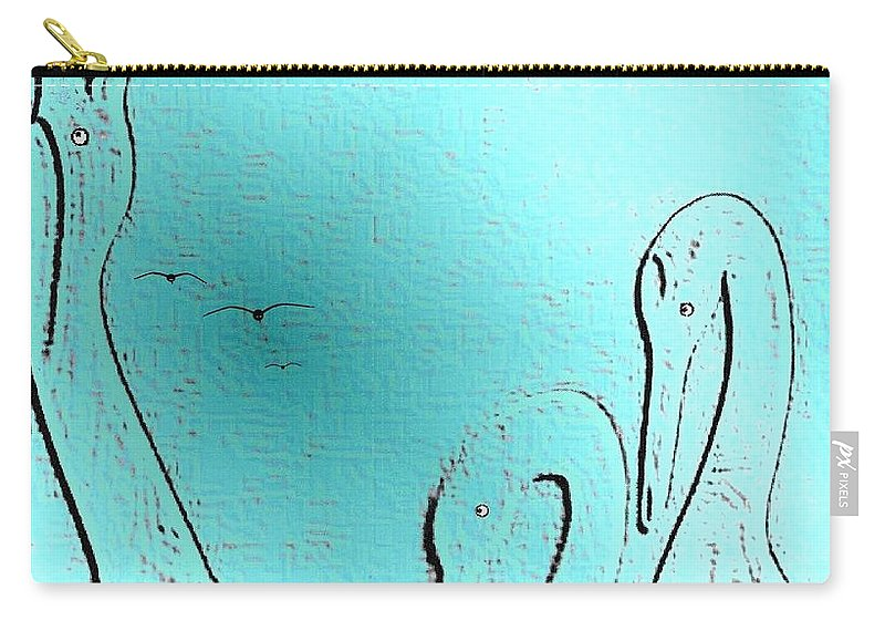 Abstract Carry-all Pouch featuring the digital art Birds Of A Feather by Will Borden