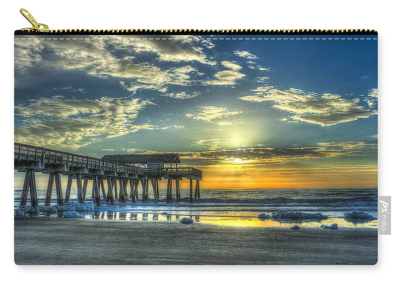 Reid Callaway Birds Of The Roof Carry-all Pouch featuring the photograph Birds On The Roof Sunrise Tybee Island by Reid Callaway