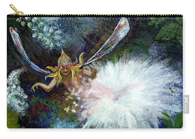 Birth Of A Fairy Carry-all Pouch featuring the painting Birth Of A Fairy by Seth Weaver