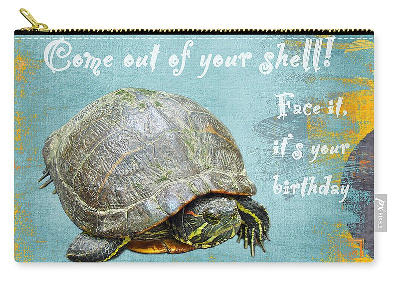 Birthday Carry-all Pouch featuring the photograph Birthday Card - Painted Turtle by Mother Nature