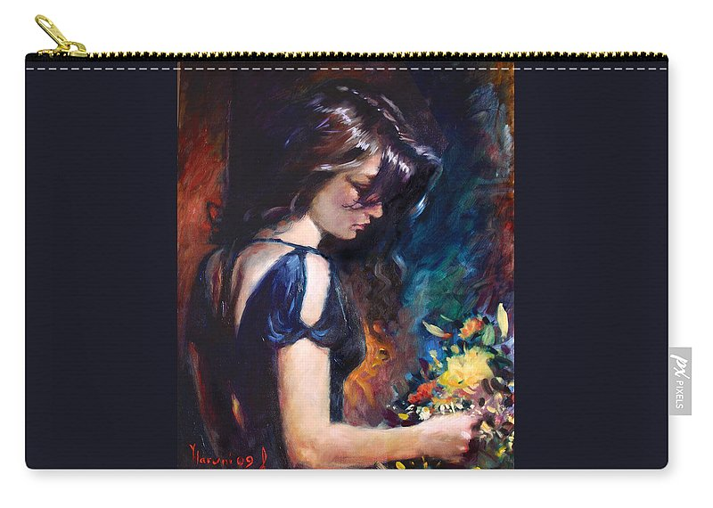 Portrait Carry-all Pouch featuring the painting Birthday Girl by Ylli Haruni