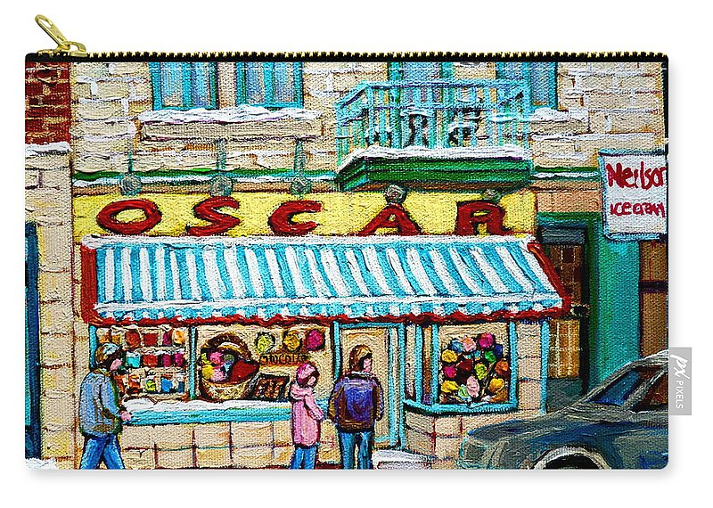 Biscuiterie Oscar Carry-all Pouch featuring the painting Biscuiterie Oscar Rue Ontario by Carole Spandau