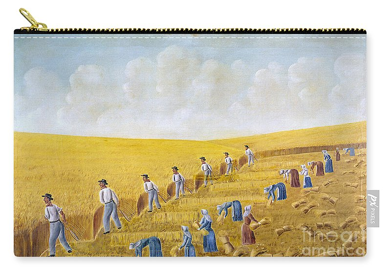 1875 Carry-all Pouch featuring the photograph Bishop Hill Colony, 1875 by Granger