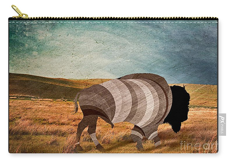 Bison Carry-all Pouch featuring the digital art Bison by Nick Eagles
