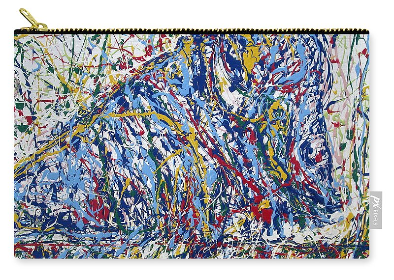 Bison Carry-all Pouch featuring the painting Bison Resting by Fabrizio Cassetta