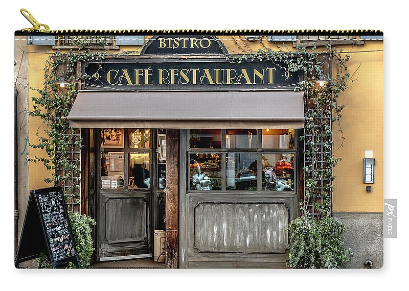 Italy Carry-all Pouch featuring the photograph Bistro In Milan by Wolfgang Stocker