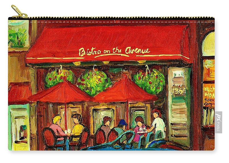 Bistro On Greene Avenue Carry-all Pouch featuring the painting Bistro On Greene Avenue In Montreal by Carole Spandau