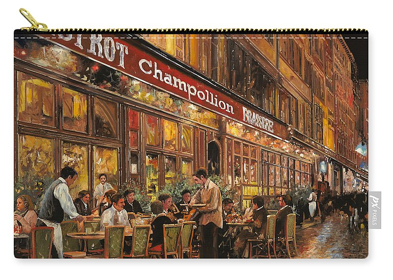 Street Scene Carry-all Pouch featuring the painting Bistrot Champollion by Guido Borelli