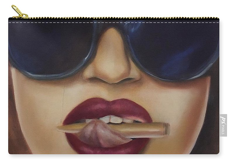 Lips Carry-all Pouch featuring the painting Bite The Bullet by Tanya Kivi