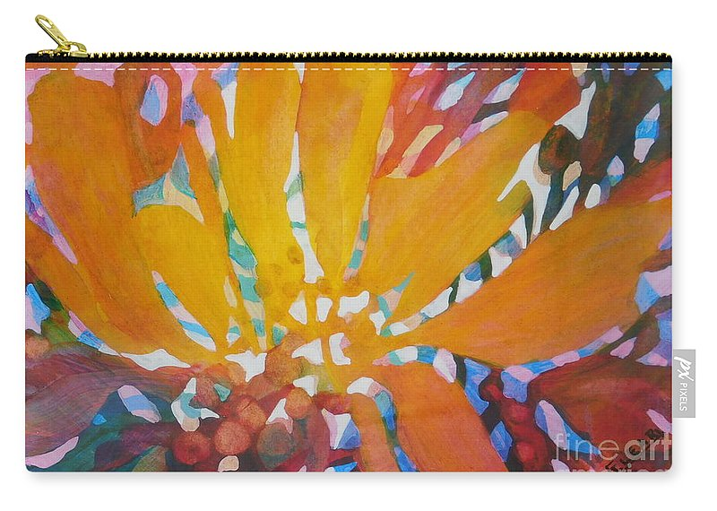 This Vibrant Painting Makes Me Think Of Autumn In The Midwest When The All Leaves Are Putting On A Show Of Color Before The Frost Takes Them And The Air Is Filled With The Aroma Of Burning Leaves And October Harvests. (it Comes Matted To Fit A Standard 8 X 10 Frame.) Carry-all Pouch featuring the painting Bittersweet by Joan Clear
