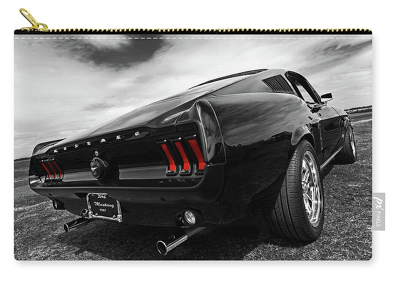 Classic Mustang Carry-all Pouch featuring the photograph Black 1967 Mustang by Gill Billington