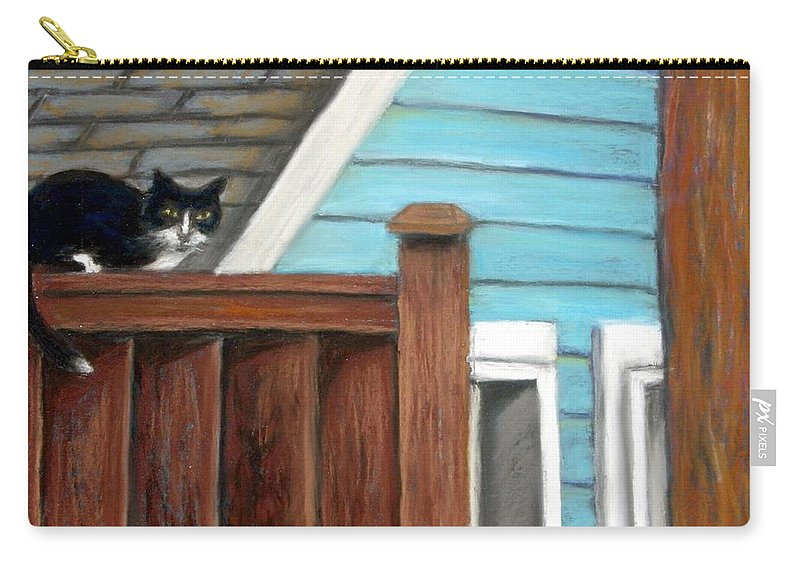 Cat Carry-all Pouch featuring the painting Black Alley Cat by Minaz Jantz