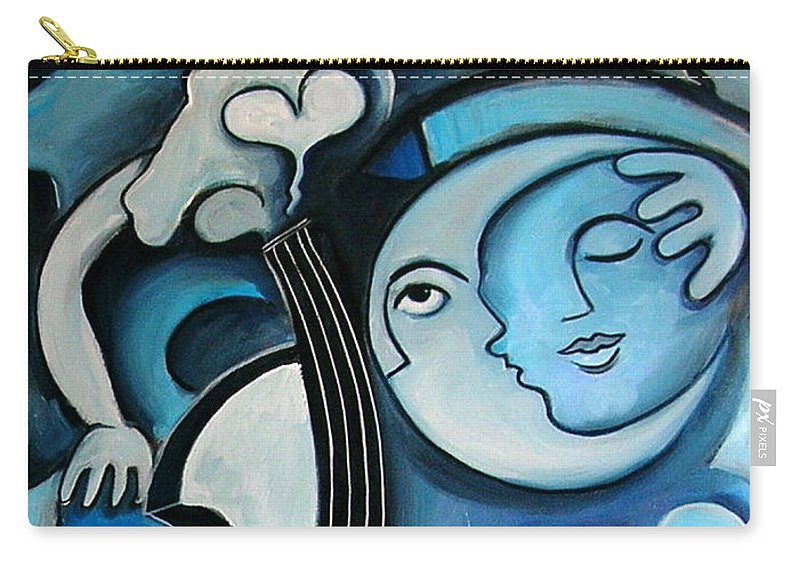 Abstract Carry-all Pouch featuring the painting Black And Bleu by Valerie Vescovi