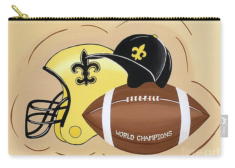 Football Carry-all Pouch featuring the painting Black And Gold Champs by Valerie Carpenter