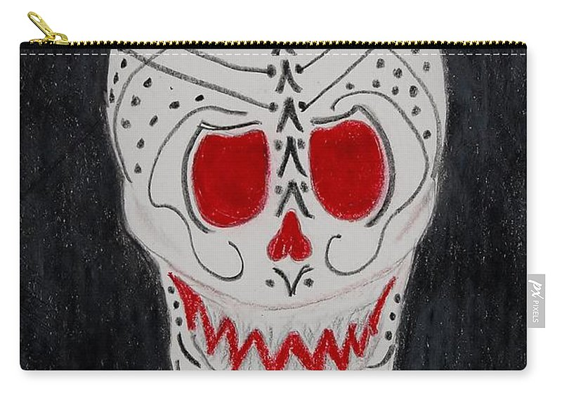 Skull Carry-all Pouch featuring the mixed media Black And Red by Charla Van Vlack