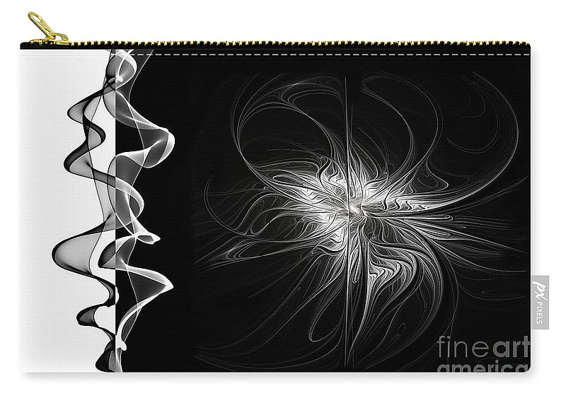 Abstract Carry-all Pouch featuring the digital art Black And White - 2 - Negative by Ann Garrett
