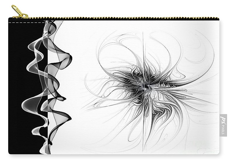 Abstract Carry-all Pouch featuring the digital art Black And White - 2 by Ann Garrett