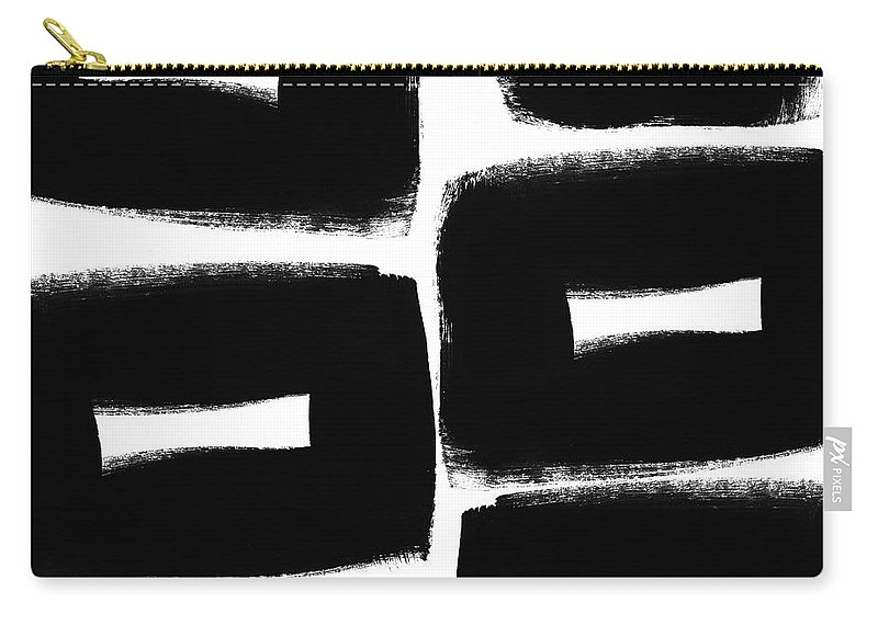 Black And White Abstract Painting Carry-all Pouch featuring the painting Black and White Abstract- abstract painting by Linda Woods