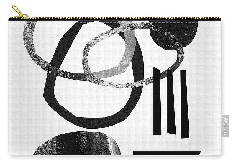Black And White Abstract Carry-all Pouch featuring the mixed media Black And White- Abstract Art by Linda Woods