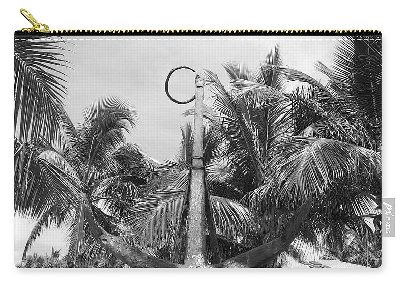 Black And White Carry-all Pouch featuring the photograph Black And White Anchor by Rob Hans