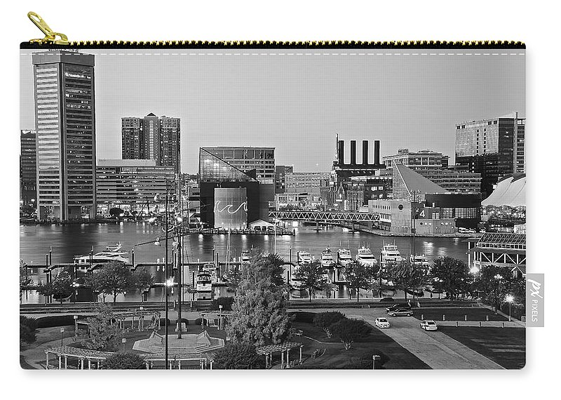 Baltimore Carry-all Pouch featuring the photograph Black And White Baltimore by Frozen in Time Fine Art Photography