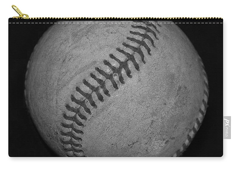 Baseball Carry-all Pouch featuring the photograph Black And White Baseball by Rob Hans