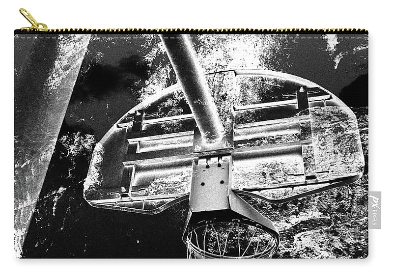 Basketball Carry-all Pouch featuring the digital art Black And White Basketball Art by Takumi Park