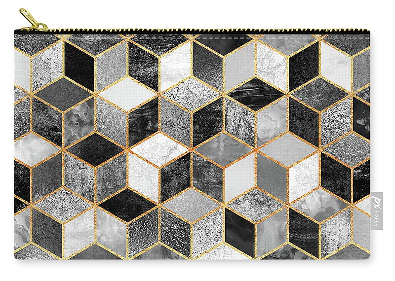 Graphic Design Carry-all Pouch featuring the digital art Black and White Cubes by Elisabeth Fredriksson