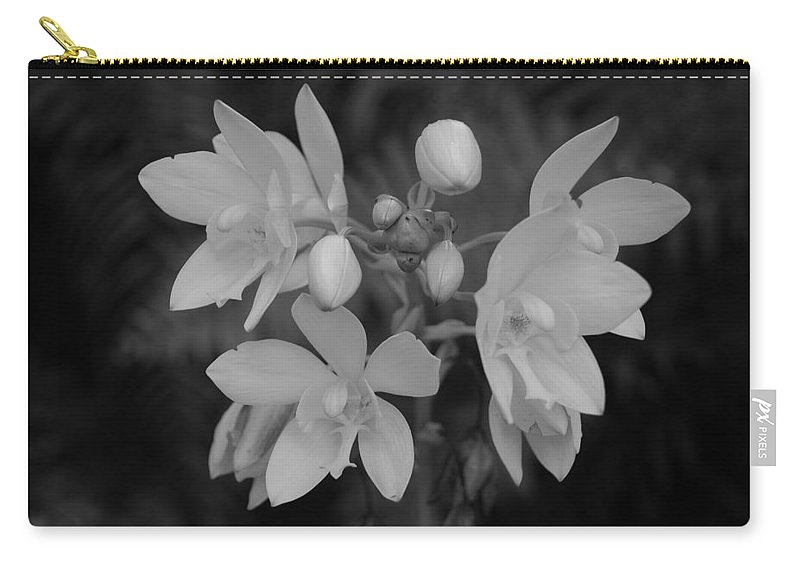 Macro Carry-all Pouch featuring the photograph Black And White Flower by Rob Hans